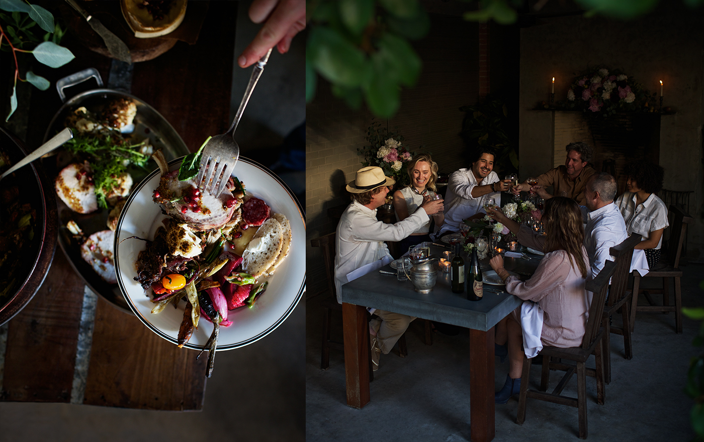 A double picture of an exquisite meal and a group of friends toasting and eating dinner at a table.