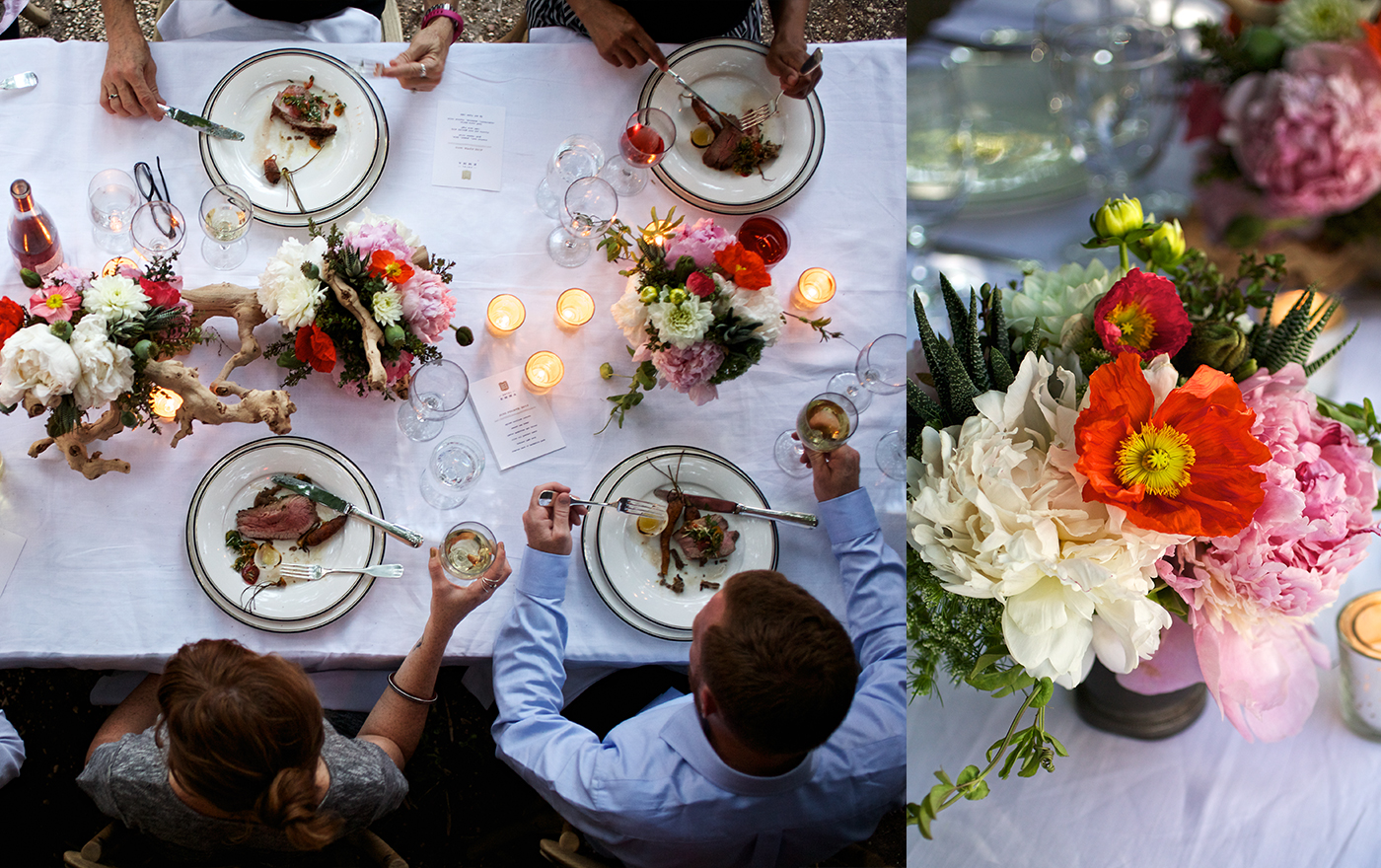A picture of a white table decorated with two flower bouquets and four friends eating around the table.