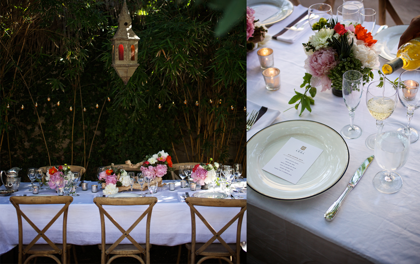 A double picture of a private dining experience. Pictured is a white table with four flower bouquets  and wooden chairs.  Second picture is a plate with a Hotel Emma menu.