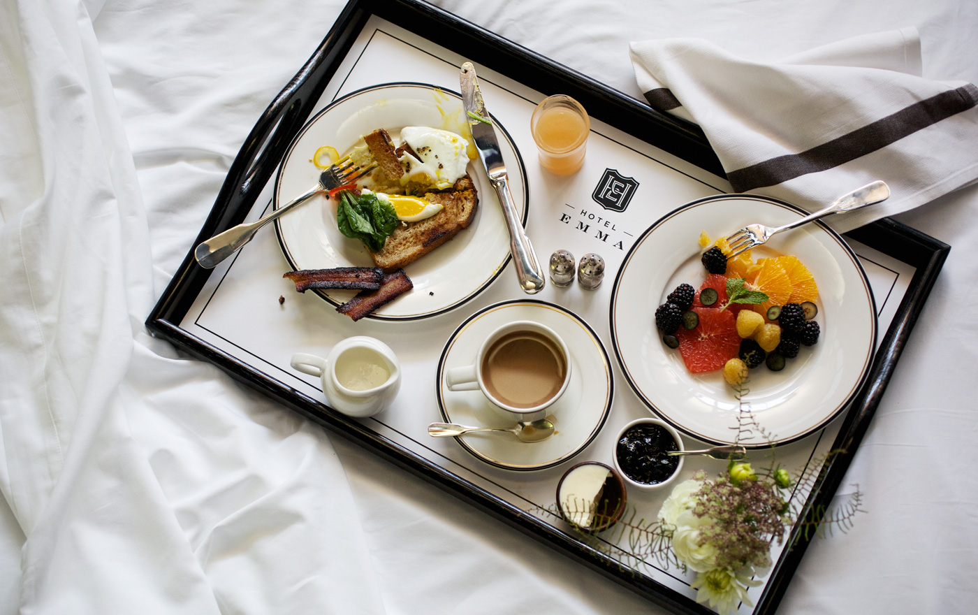 Picture of breakfast in bed.