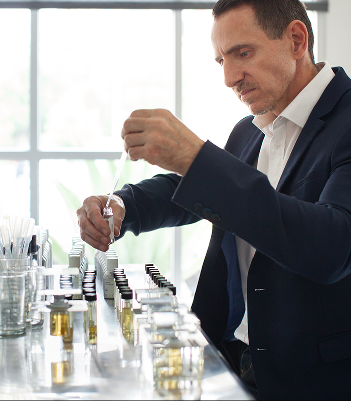 kevin elkins working on creating fragrance