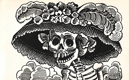 Day of the Dead skeleton drawing