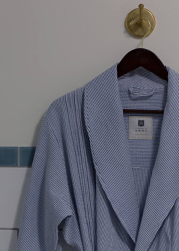 A picture of Hotel Emma's blue stripped robe.