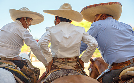 Three man in traditional Mexican clothing on horses, backs to the camera