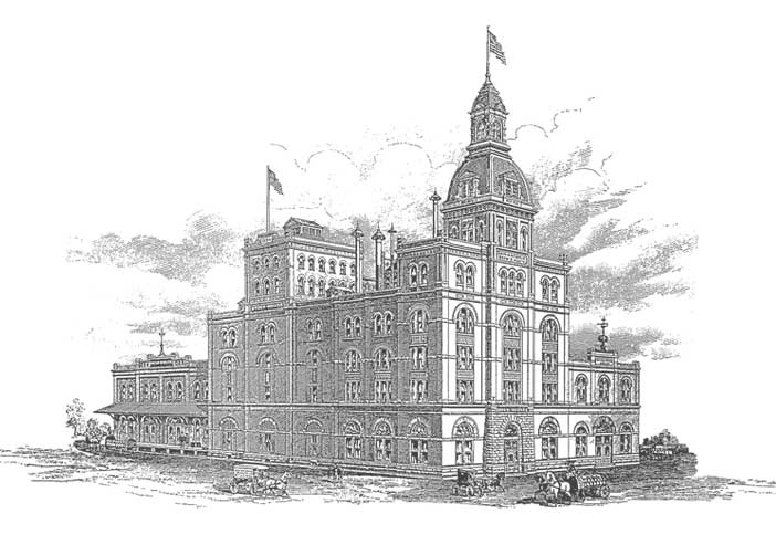 A black and white picture of the historic Pearl Brewery in San Antonio.
