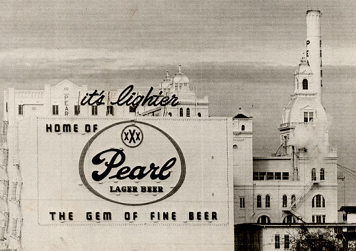 A black and white picture of the Peal's brewery with a sign reading