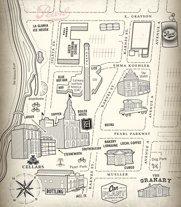 Sketch of a map of The Pearl Brewery.