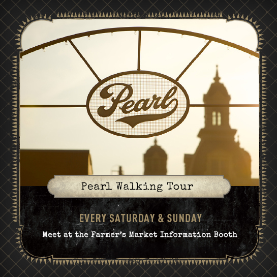 pearl walking tour flier advertising availability every saturday and sunday
