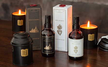 Bottles of fragrance and candles
