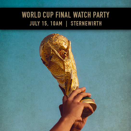 Flyer for a world cup watch party with an image of The World Cup.
